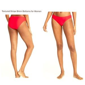 NWT Textured-Stripe Bikini Bottoms